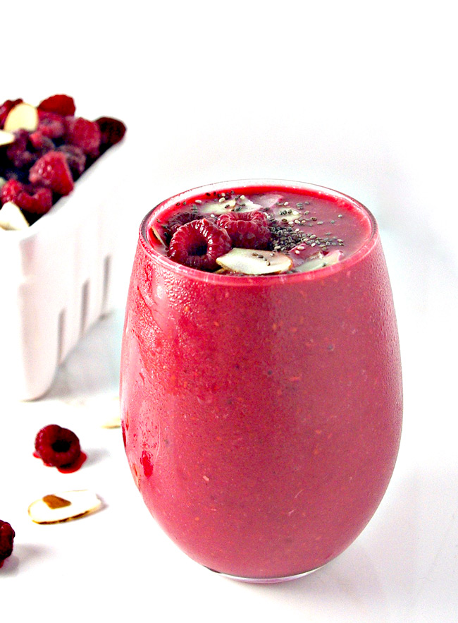 Just three ingredients and gluten-free, Dairy-Free Raspberry Almond Smoothie comes with vegan and paleo variations, too!   spiritedandthensome.com