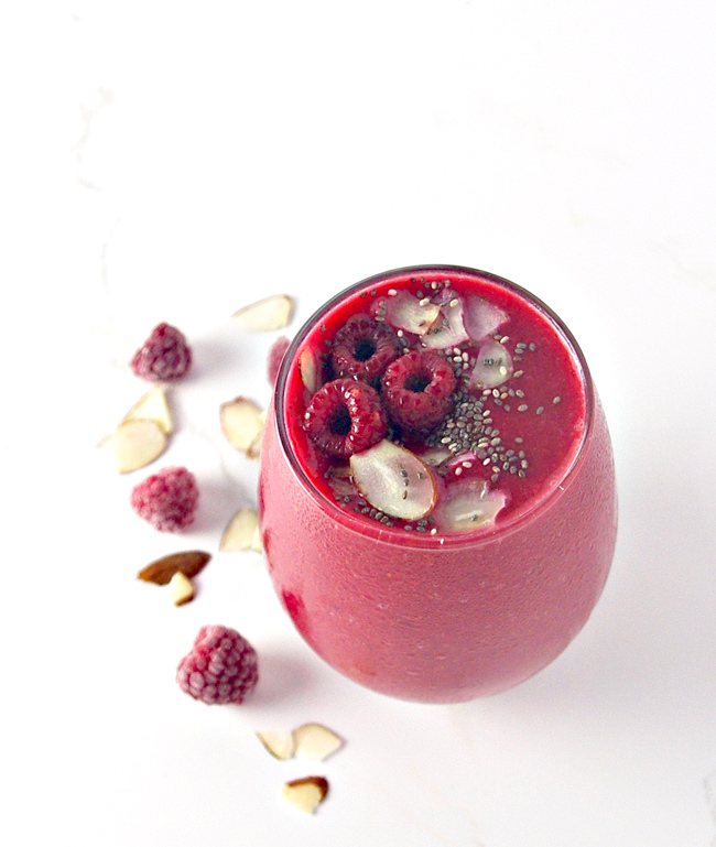 Gluten-free, 3 ingredients, and ready in minutes, Dairy-Free Raspberry Almond Smoothie is a popular flavor in our house!   spiritedandthensome.com