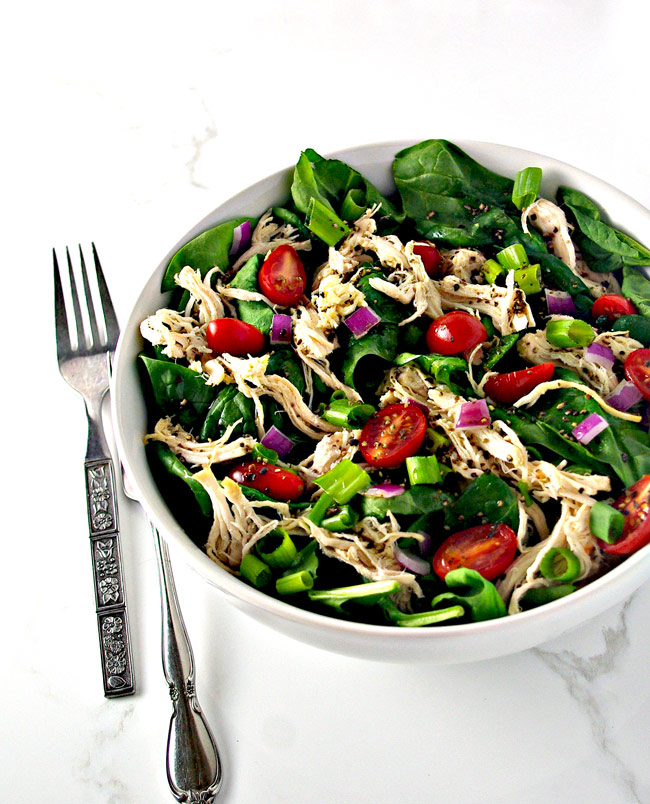 Slow-Cooker Peppered Chicken Salad is my favorite way to prepare chicken for ANY meal, salad or otherwise! | spiritedandthensome.com