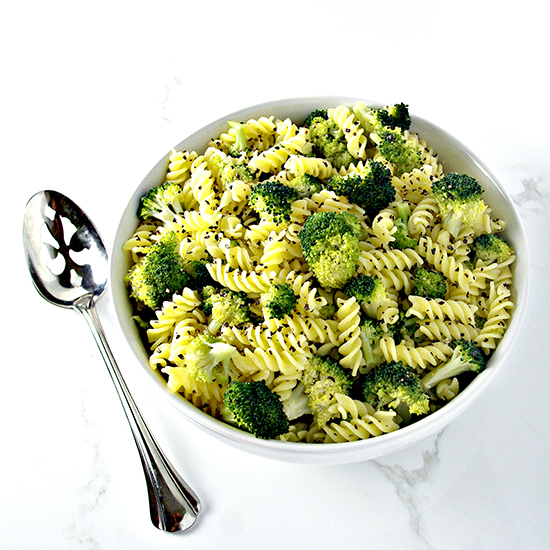 Vegan and gluten-free, Lemon Garlic Broccoli Pasta is perfect as a side dish or a main course! | spiritedandthensome.com