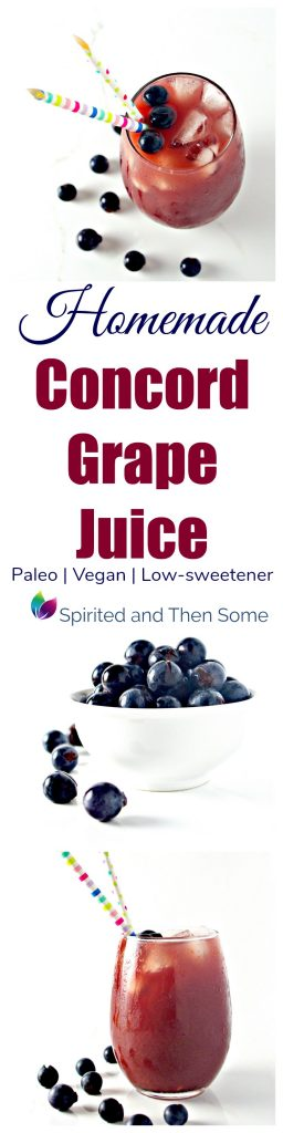 Homemade Concord Grape Juice contains just 2 base ingredients with little added sweetener and vegan and paleo options! | spiritedandthensome.com