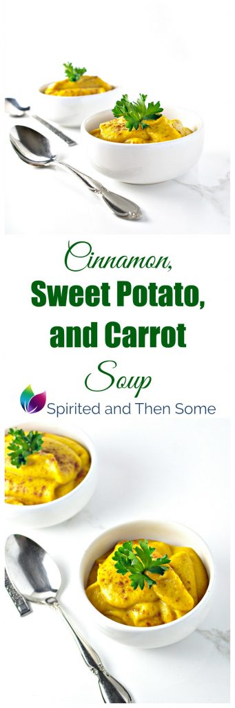 Cinnamon, Sweet Potato, and Carrot Soup is a delicious vegan and paleo soup! | spiritedandthensome.com