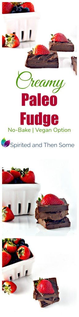 Creamy Paleo Fudge is a delicious no-bake dessert complete with vegan variation! | spiritedandthensome.com