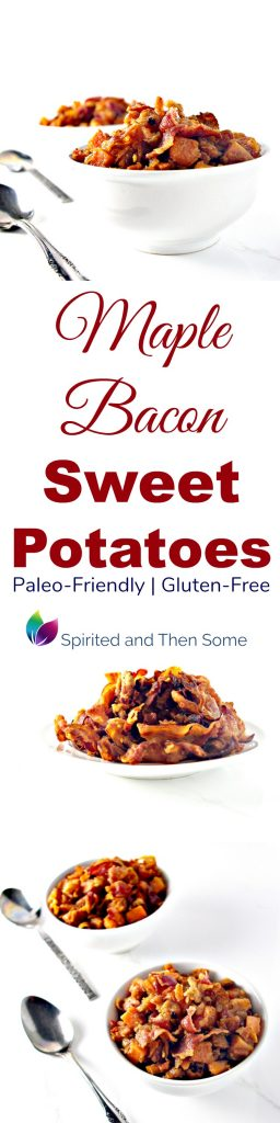 Gluten-free Maple Bacon Sweet Potatoes are paleo-friendly and a delicious side dish recipe! | spiritedandthensome.com