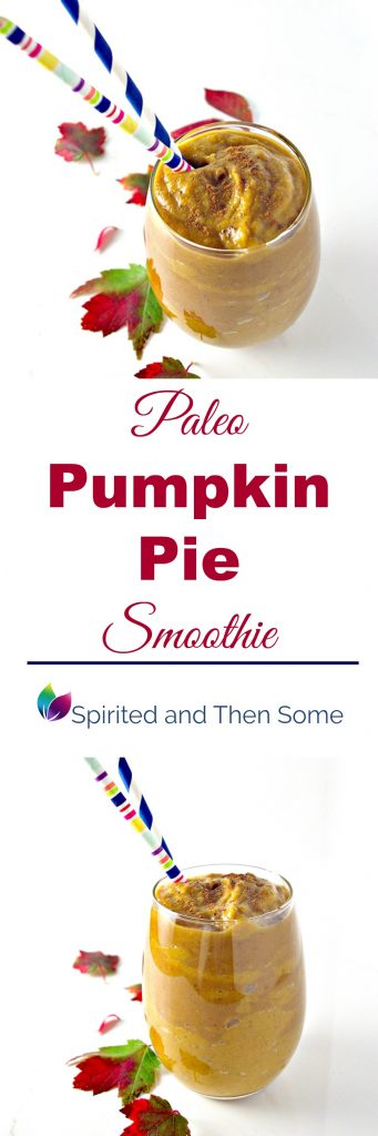 Paleo Pumpkin Pie Smoothie is gluten-free, dairy-free, grain-free, and can be made into a vegan variation, too! | spiritedandthensome.com