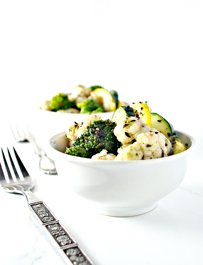 Easy Paleo Quick-Steamed Vegetables are full of garlic, thyme, and sage! So delicious and healthy, too!   spiritedandthensome.com