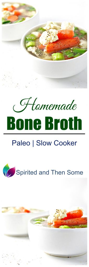 This paleo Homemade Bone Broth recipe is made in the slow cooker and is super easy to make! | spiritedandthensome.com