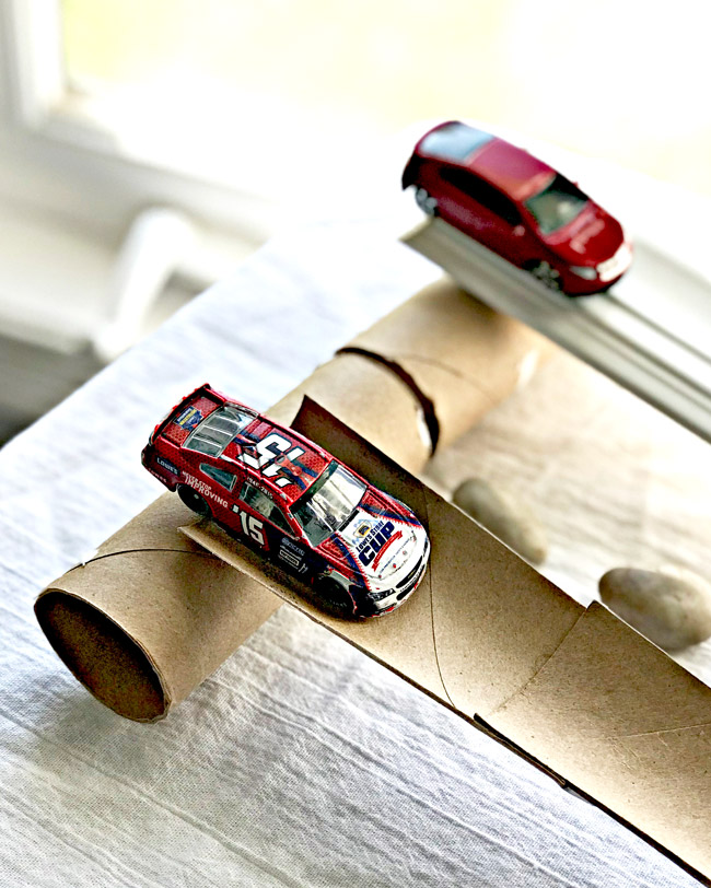 Cars on homemade ramps are great math activities! | spiritedandthensome.com