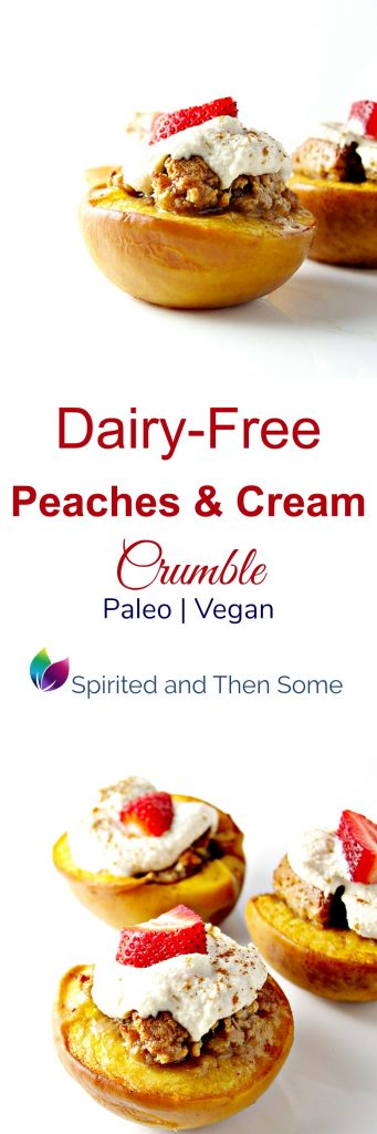 Dairy-Free Peaches and Cream Crumble is also vegan and paleo! | spiritedandthensome.com