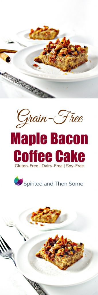 Grain-Free Maple Bacon Coffee Cake is gluten-free, dairy-free, soy-free, and completely delicious! | spiritedandthensome.com