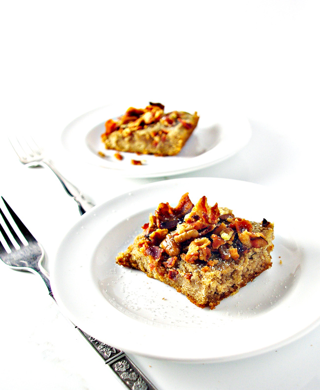 Grain-Free Maple Bacon Coffee Cake is gluten-free and dairy-free and totally delicious! A family fave in our house! | spiritedandthensome.com