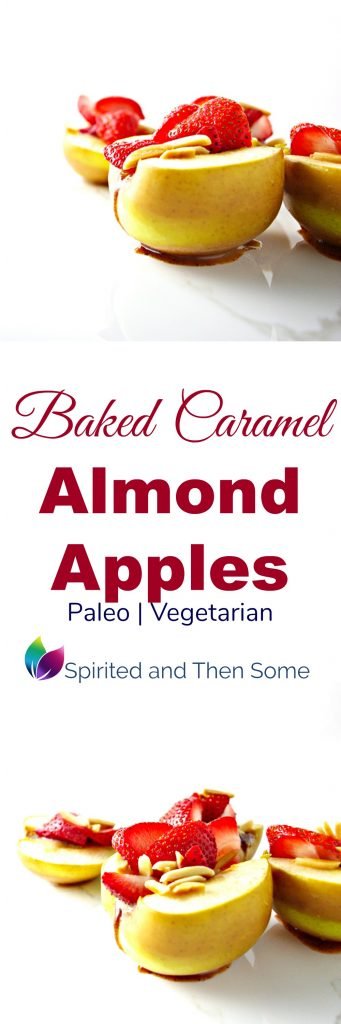 Paleo Baked Caramel Almond Apples are a delicious blend of creamy, crunchy goodness! | spiritedandthensome.com