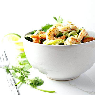 Cilantro Lime Shrimp Zoodle Bowl is paleo and absolutely mouthwateringly delicious! | spiritedandthensome.com