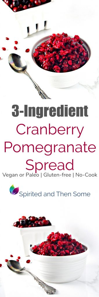 Gluten-free, vegan or paleo, and no-cook, this 3-Ingredient Cranberry Pomegranate Spread can also serve as a salad, side dish, appetizer, or mix-in! The sky is the limit with this recipe! | spiritedandthensome.com