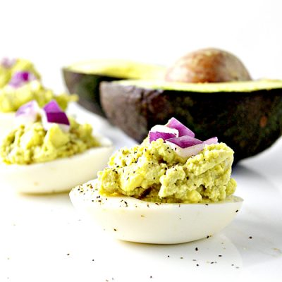 Spicy Avocado Deviled Eggs are creamy, yummy, mayo-free, paleo, and gluten-free! | spiritedandthensome.com