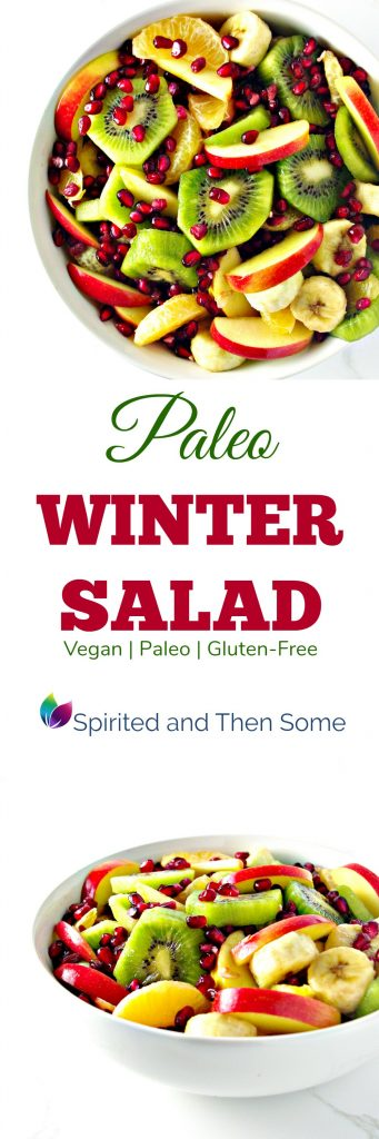Paleo Winter Salad is full of bananas, apples, kiwis, pomegranate arils, and mandarin oranges! It's vegan and gluten-free, too! | spiritedandthensome.com
