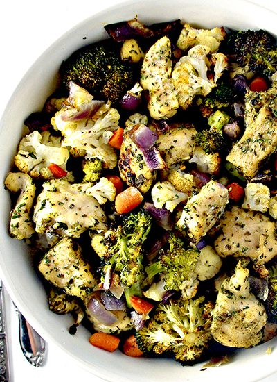 Roasted Chicken and Vegetables is a delicious paleo recipe that's perfect for two, family gatherings, or weekly meal prep! | spiritedandthensome.com