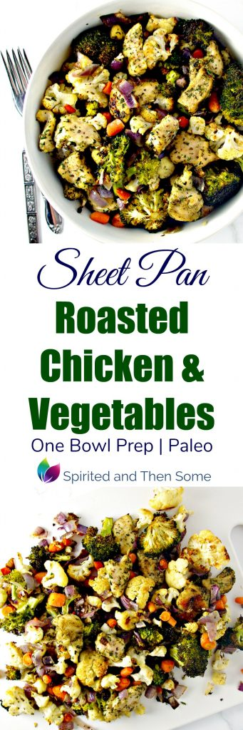Sheet Pan Roasted Chicken and Vegetables is a delicious paleo ONE BOWL prep recipe! | spiritedandthensome.com