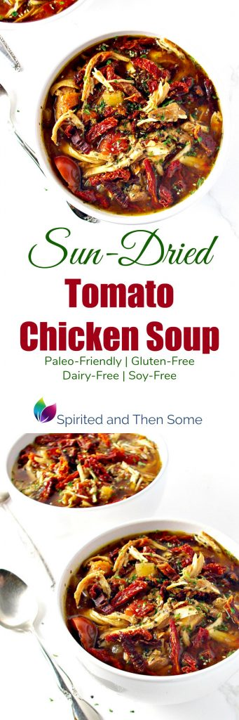 Sun-Dried Tomato Chicken Soup is gluten-free, dairy-free, soy-free, and paleo-friendly! Throw ingredients in the slow cooker, set it for 6 hours, and go! | spiritedandthensome.com