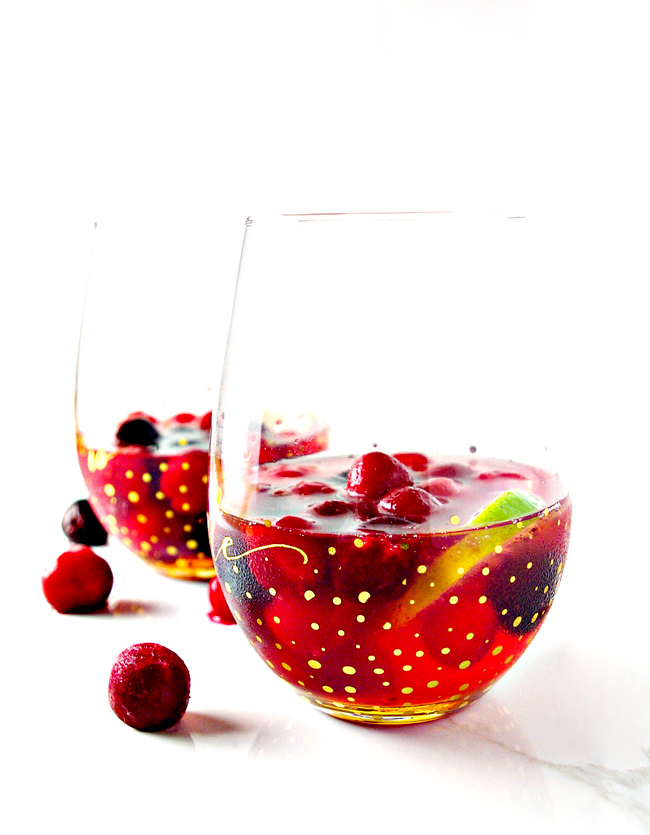 This Cherry Lime Champagne Cocktail recipe is perfect for parties, New Year's Eve, Valentine's Day, or date night in! | spiritedandthensome.com