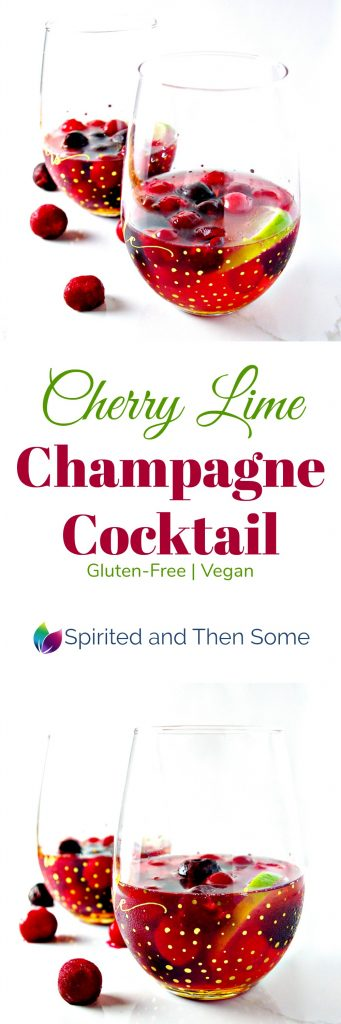 This Cherry Lime Champagne Cocktail is gluten-free, vegan, and super-delicious for Valentine's Day or date night in! | spiritedandthensome.com