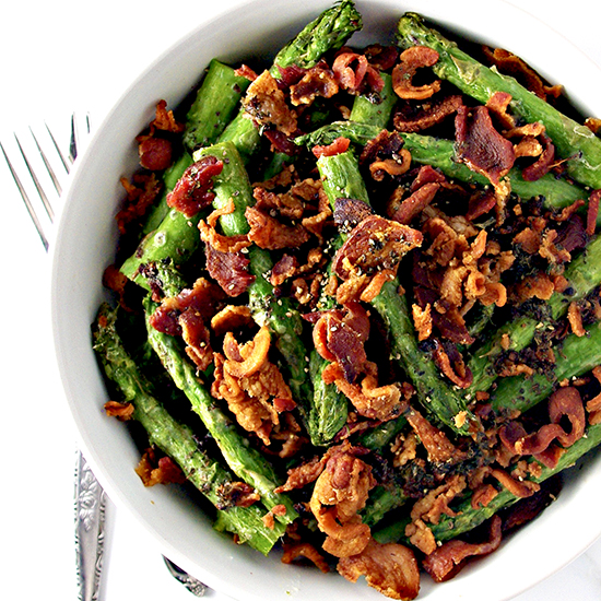 Crumbled Bacon Asparagus is gluten-free, paleo-friendly, and super-delicious! | spiritedandthensome.com