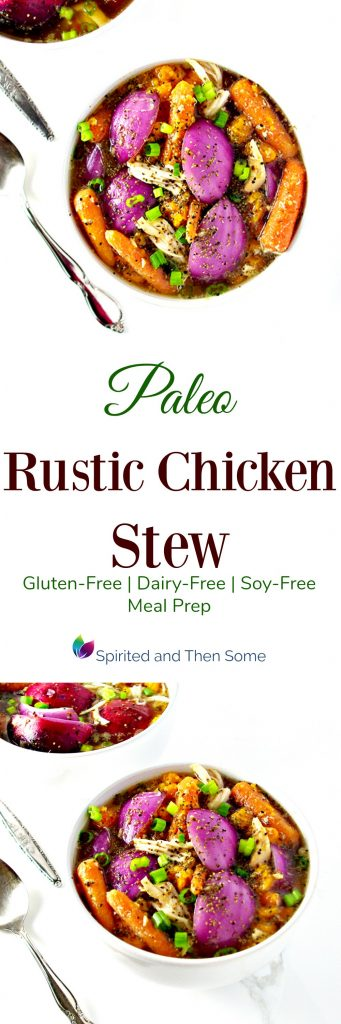 Paleo Rustic Chicken Stew is super delicious and ideal for leftovers and meal prep! Gluten-free, dairy-free, soy-free, and grain-free! | spiritedandthensome.com