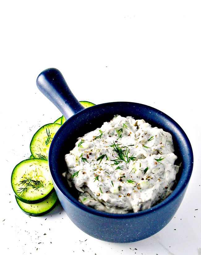Paleo Tzatziki Sauce is dairy-free, vegan, and the perfect gluten-free appetizer recipe! | spiritedandthensome.com