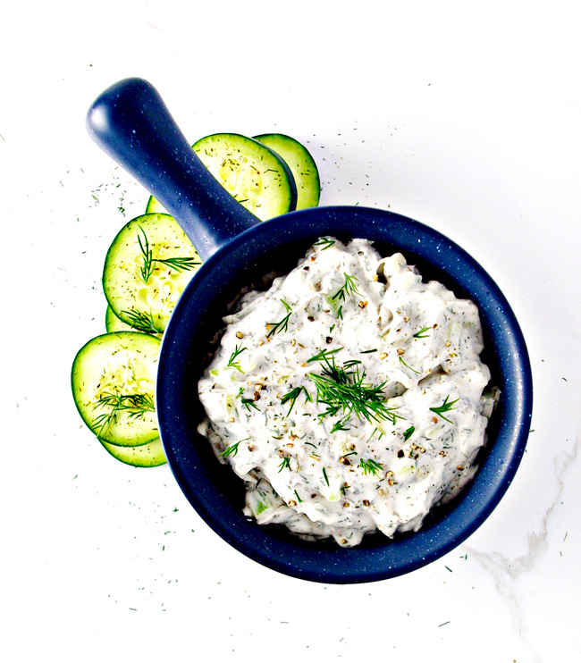 Paleo Tzatziki Sauce is rich and creamy and still soy-free, dairy-free, and vegan! | spiritedandthensome.com