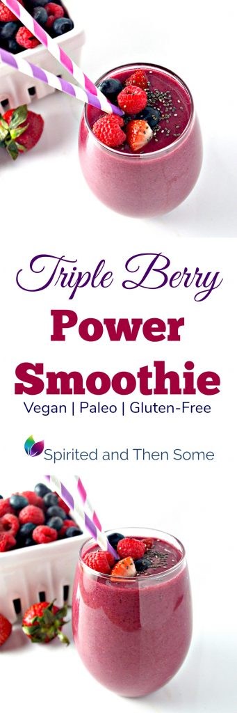 Triple Berry Power Smoothie is gluten-free, vegan or paleo, and absolutely delicious! It's a favorite in our family! | spiritedandthensome.com