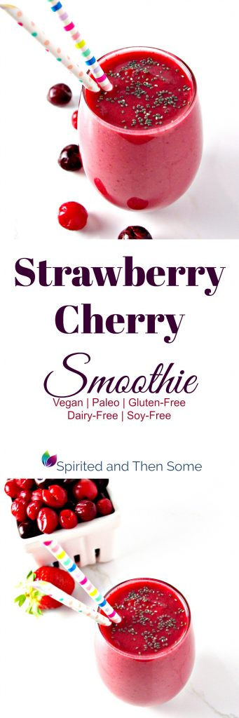 Strawberry Cherry Smoothie contains just 3 base ingredients and is vegan- and paleo-friendly! | spiritedandthensome.com