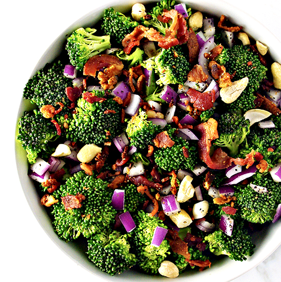Easy Broccoli Bacon Salad is full of robust flavor and is gluten-free, dairy-free, and paleo-friendly! | spiritedandthensome.com