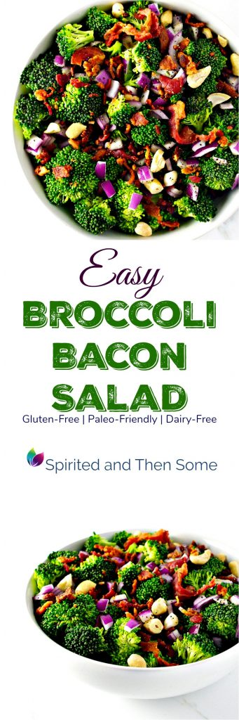 Easy Broccoli Bacon Salad is deliciously gluten-free, paleo-friendly, and dairy-free! | spiritedandthensome.com