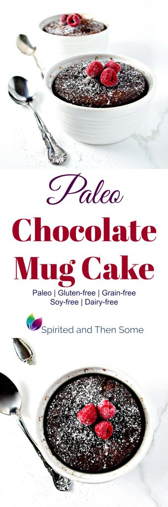 Paleo Chocolate Mug Cake is gluten-free, grain-free, and full of flavor! | spiritedandthensome.com
