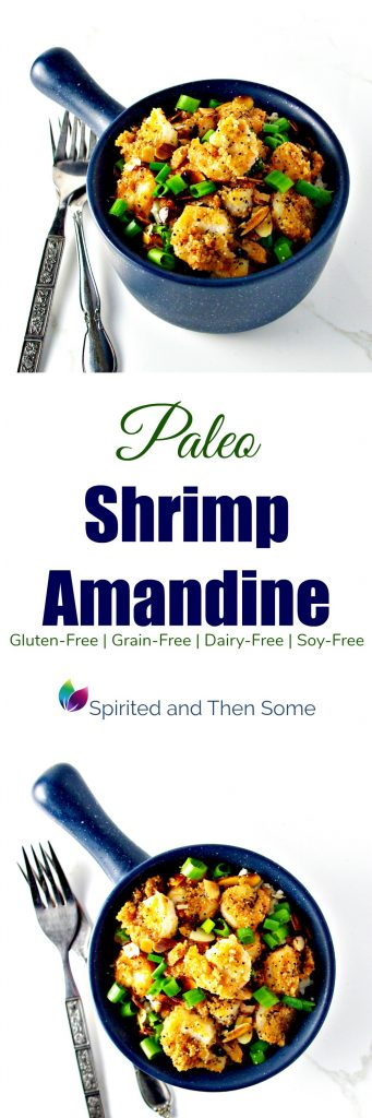 Paleo Shrimp Amandine is full of sautéed almond slivers, coarse black peppers, and topped with crisp green onions! Gluten-free, grain-free, soy-free, and dairy-free! | spiritedandthensome.com