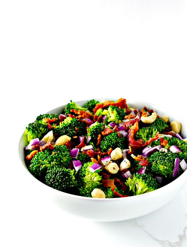 Easy Broccoli Bacon Salad is easy to make and even easier to enjoy! Paleo-friendly and gluten-free! | spiritedandthensome.com