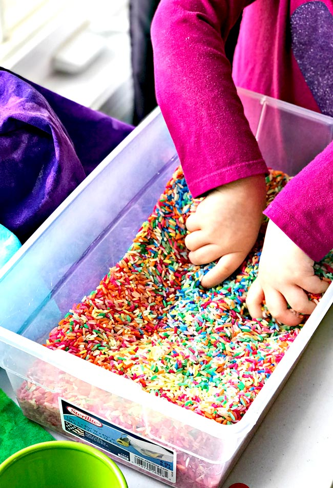 Budget-friendly sensory play ideas for preschoolers rainbow rice recipe! | spiritedandthensome.com