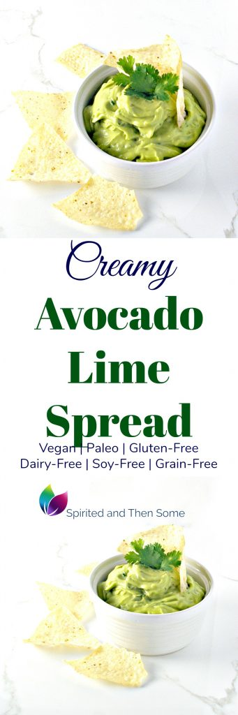 Creamy Avocado Lime Spread is vegan and paleo and totally creamy delicious but without all the dairy! | spiritedandthensome.com