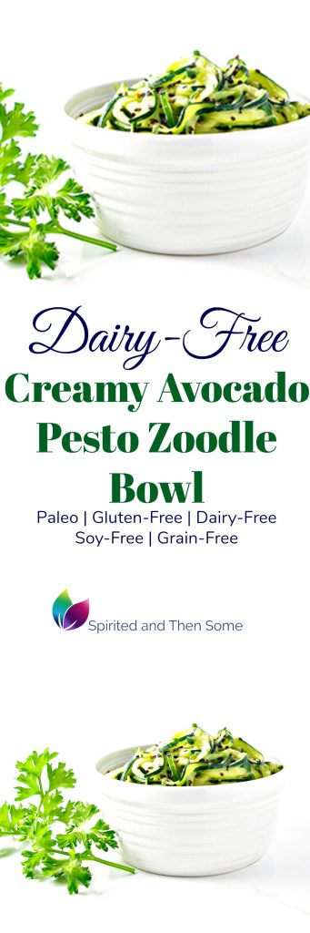 Dairy-Free Creamy Avocado Pesto Zoodle Bowl is gluten-free, paleo, and soy-free, too! | spiritedandthensome.com