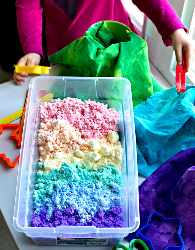 Easy Cloud Dough is gluten-free, ready in minutes, and perfect for sensory play! | spiritedandthensome.com
