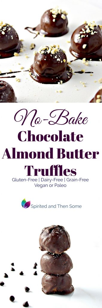 No-Bake Chocolate Almond Butter Truffles are vegan or paleo, gluten-free, grain-free, and dairy-free! | spiritedandthensome.com