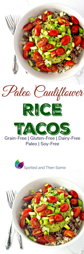 Paleo Rice Cauliflower Tacos are a healthy, gluten-free twist on a traditional recipe! | spiritedandthensome.com