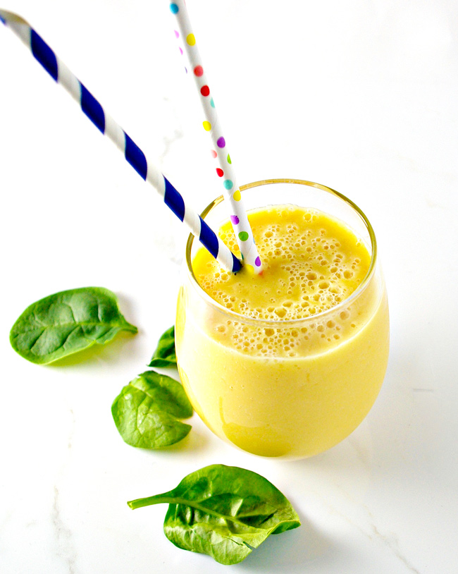 Peach Mango Smoothie is dairy-free and paleo or vegan. Your choice! | spiritedandthensome.com