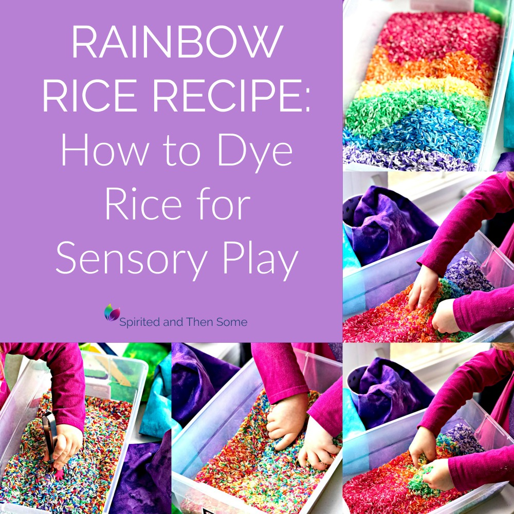 Rainbow Rice Recipe How to Dye Rice for Sensory Play! | spiritedandthensome.com