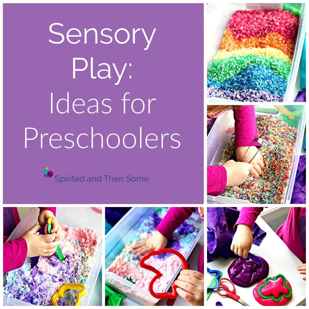 Sensory Play Ideas for Preschoolers include lots of household items! | spiritedandthensome.com