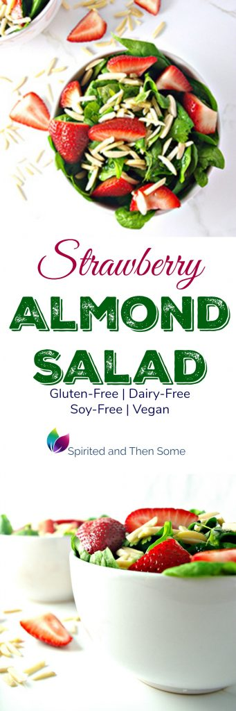 Strawberry Almond Salad is deliciously gluten-free, vegan, soy-free, and full of crunch! | spiritedandthensome.com