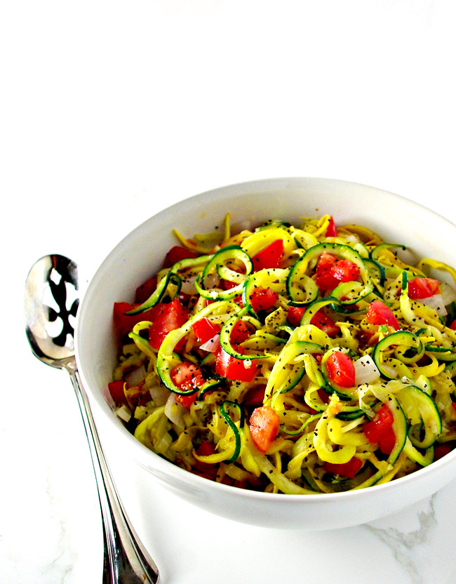 Easy Veggie Noodle Sauté is as delicious as it is simple to make! Gluten-free and grain-free! | spiritedandthensome.com