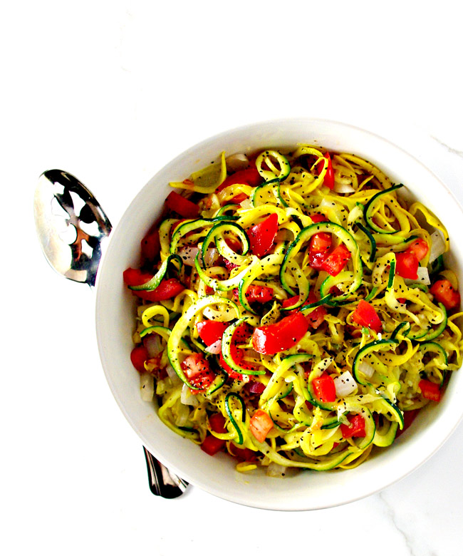 Easy Veggie Noodle Sauté is gluten-free, grain-free, full of flavor and pale and vegan, too!   spiritedandthensome.com