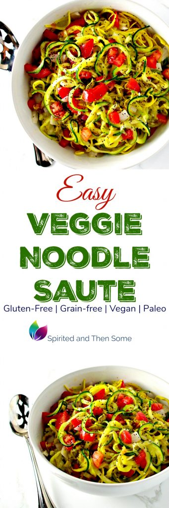 Easy Veggie Noodle Sauté is gluten-free, vegan, grain-free, and paleo! It's also big on flavor and ready in minutes! | spiritedandthensome.com