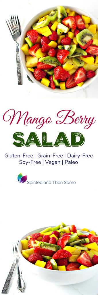 Sweet and tangy Mango Berry Salad is gluten-free, grain-free, vegan, and paleo! | spiritedandthensome.com